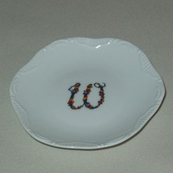 Floral Monogram Scroll Edge Jewelry Dish