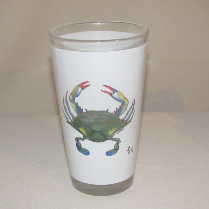 Blue Point Crab Pint Glass, 16oz.