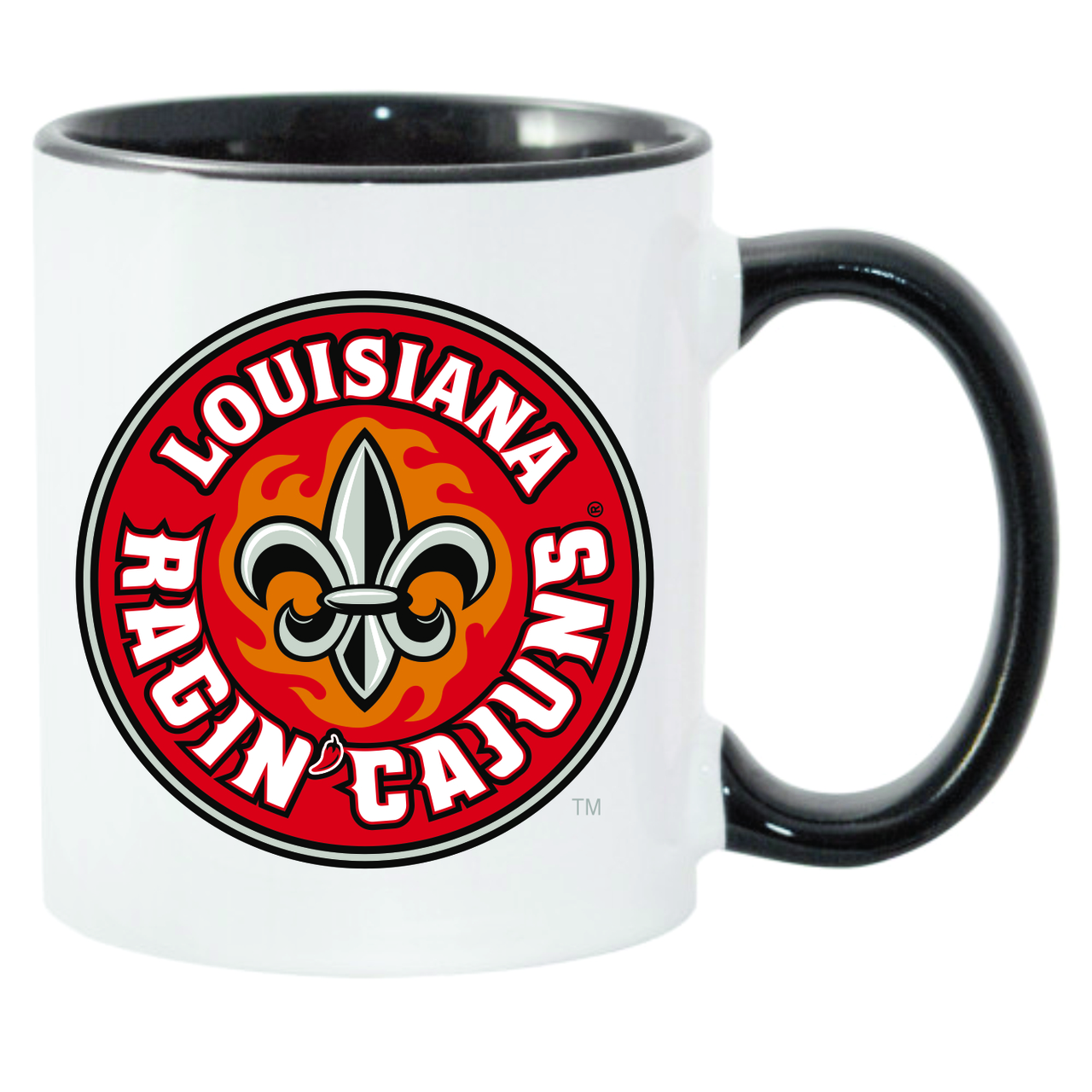 Louisiana Ragin' Cajuns Black & White C-Handle Coffee Mug
