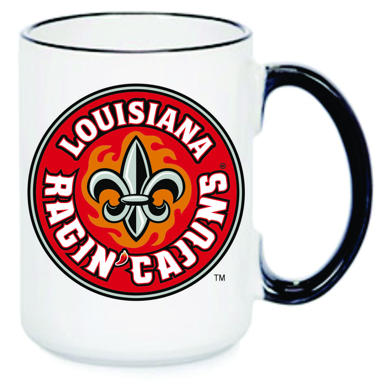 Louisiana Ragin' Cajuns Black & White Coffee Mug, 15oz.