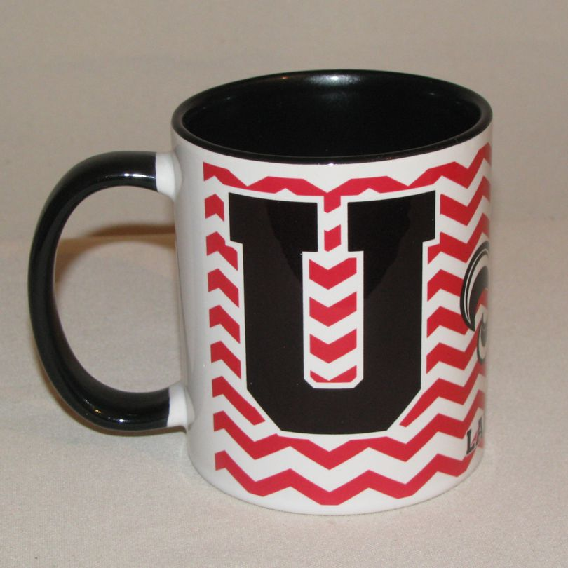 UL Lafayette Black & White C-Handle Coffee Mug