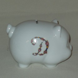 Floral Monogram Piggy Bank