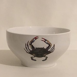 Blue Point Crab Footed Bowl
