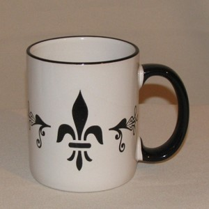 Fleur de Lis Coffee Mug (black handle & rim)