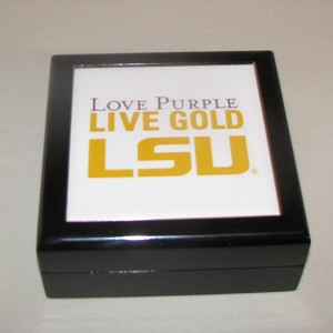 Love Purple Live Gold LSU Keepsake Box