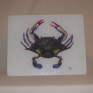 Blue Point Crab Glass Cutting Board, 15